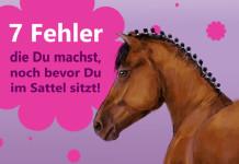 """Ein gezeichnetes Bild von einem braunen Pferd mit der Aufschrift """"7 Fehler die Du machst, schon bevor Du im Sattel sitzt"""""""