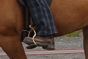 Nahaufnahme von den Reitschuhen zu Pferd