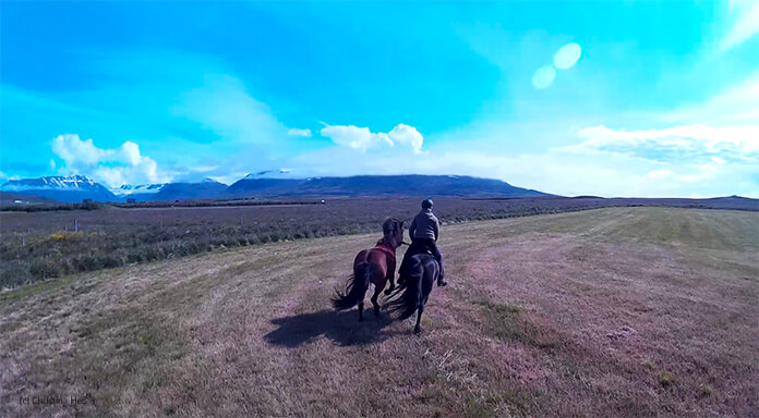 Ein Bild von Christinas Helmkamera: man sieht Hlín auf ihrem Pony und mit ihrem Handpferd in schnellem Galopp auf einer gemähten Wiese. Im Hintergrund sind die hohen Berge.
