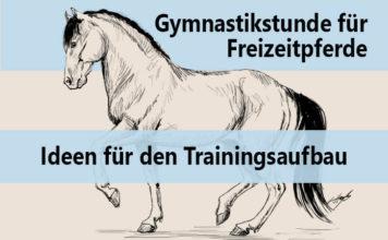 """Gezeichnetes piaffierendes Pferd mit Text """"Gymnastikstunde für Freizeitpferde - Ideen für den Trainingsaufbau"""""""
