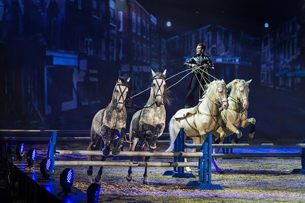 Laury reitet ungarische Post auf zwei Cremellos. Vor sich führt er vier Pferde an Fahrleinen, die paarweise über unterschiedliche Hindernisse springen.