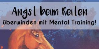 """Gemälde eines Pferdes mit der Überschrift """"Angst beim Reiten überwinden mit Mental Training"""""""