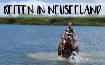 """Bild von Christina auf einem Pferd im Meer mit der Überschrift """"Reiten in Neuseeland"""""""